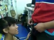 Oral Sex in Public Store She Sucks His Dick and Eat the Cum